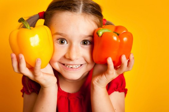 Girl-Child-Yellow-Orange-Bell-Peppers